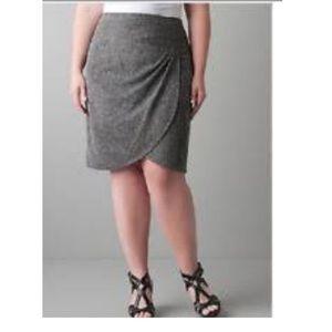 3/25 Lane Brands Gray Wrap Mini Plus Size Skirt 20
